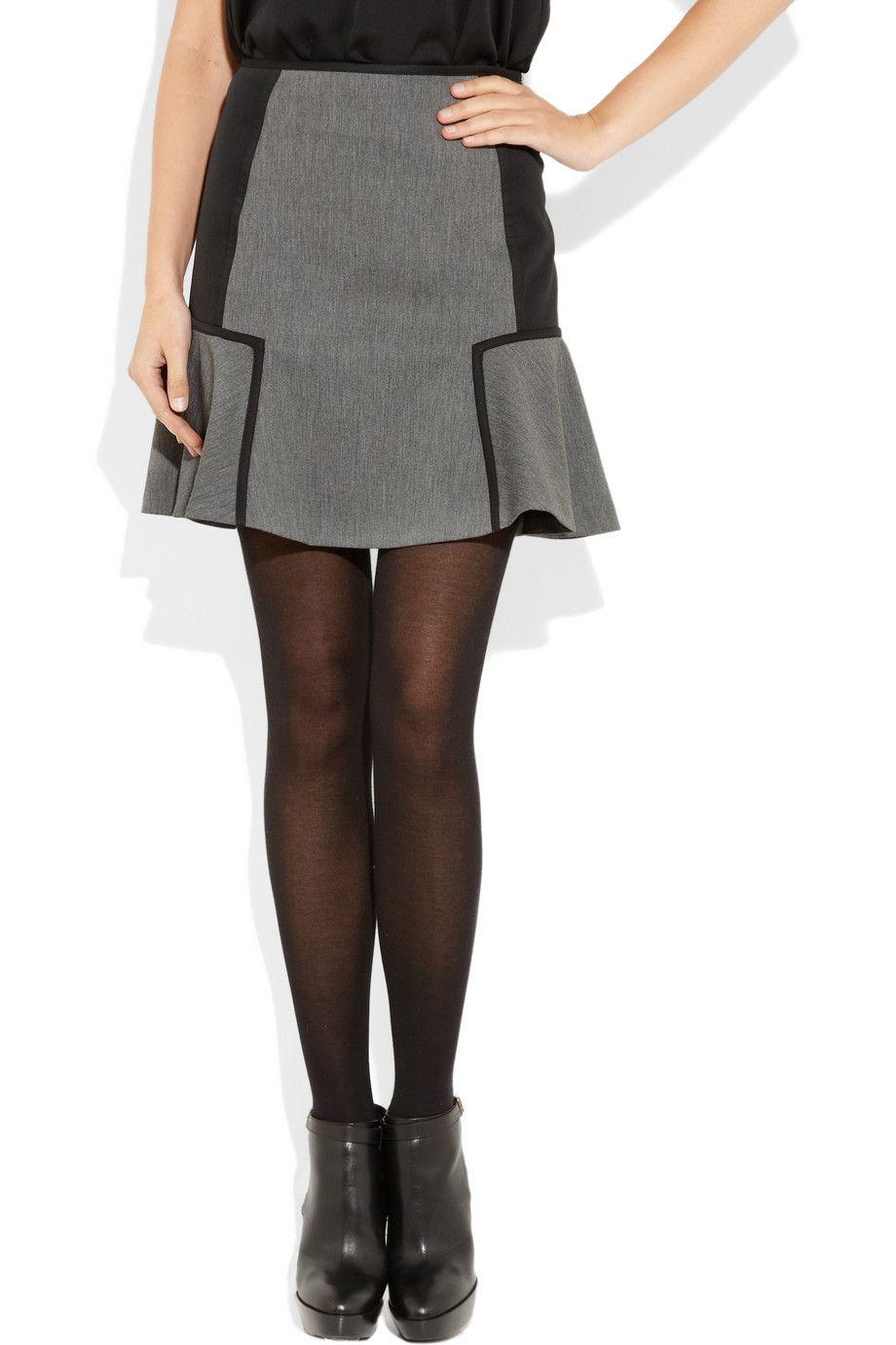 DKNY - Flared twill and satin mini skirt - £270