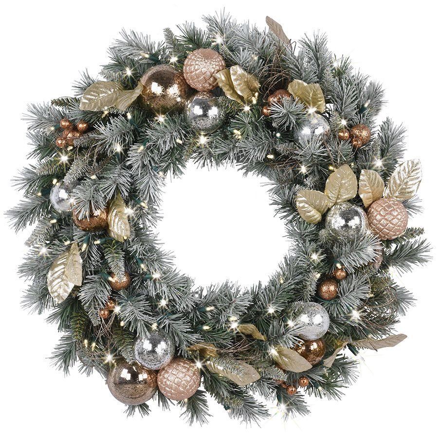 ge pre lit battery operated copper mixed pine artificial christmas wreath with warm white led lights - Pre Lit Christmas Wreaths Battery Operated