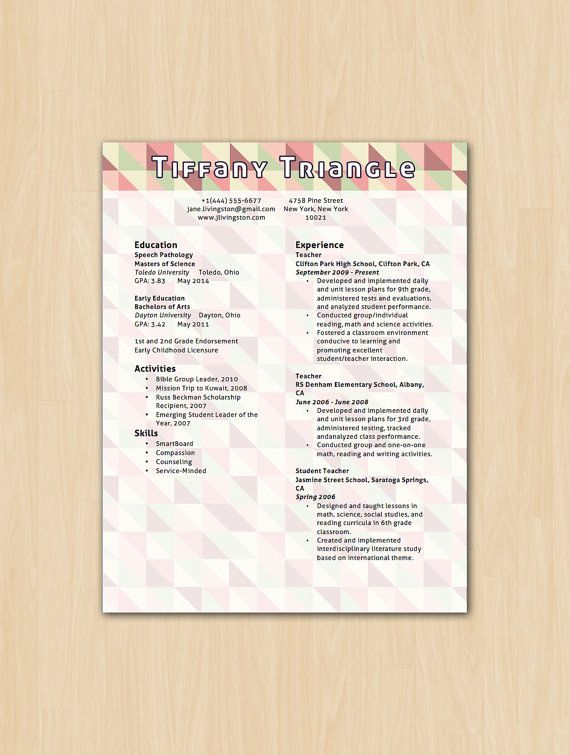 Triangle Delight Resume Template - Modern Resume Template - resume template download microsoft word