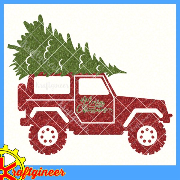 Christmas Tree On Top Of An Suv The Phrase Merry Christmas With An Offset Background Is Also Included But Can Be Christmas Red Truck Red Truck Red Christmas