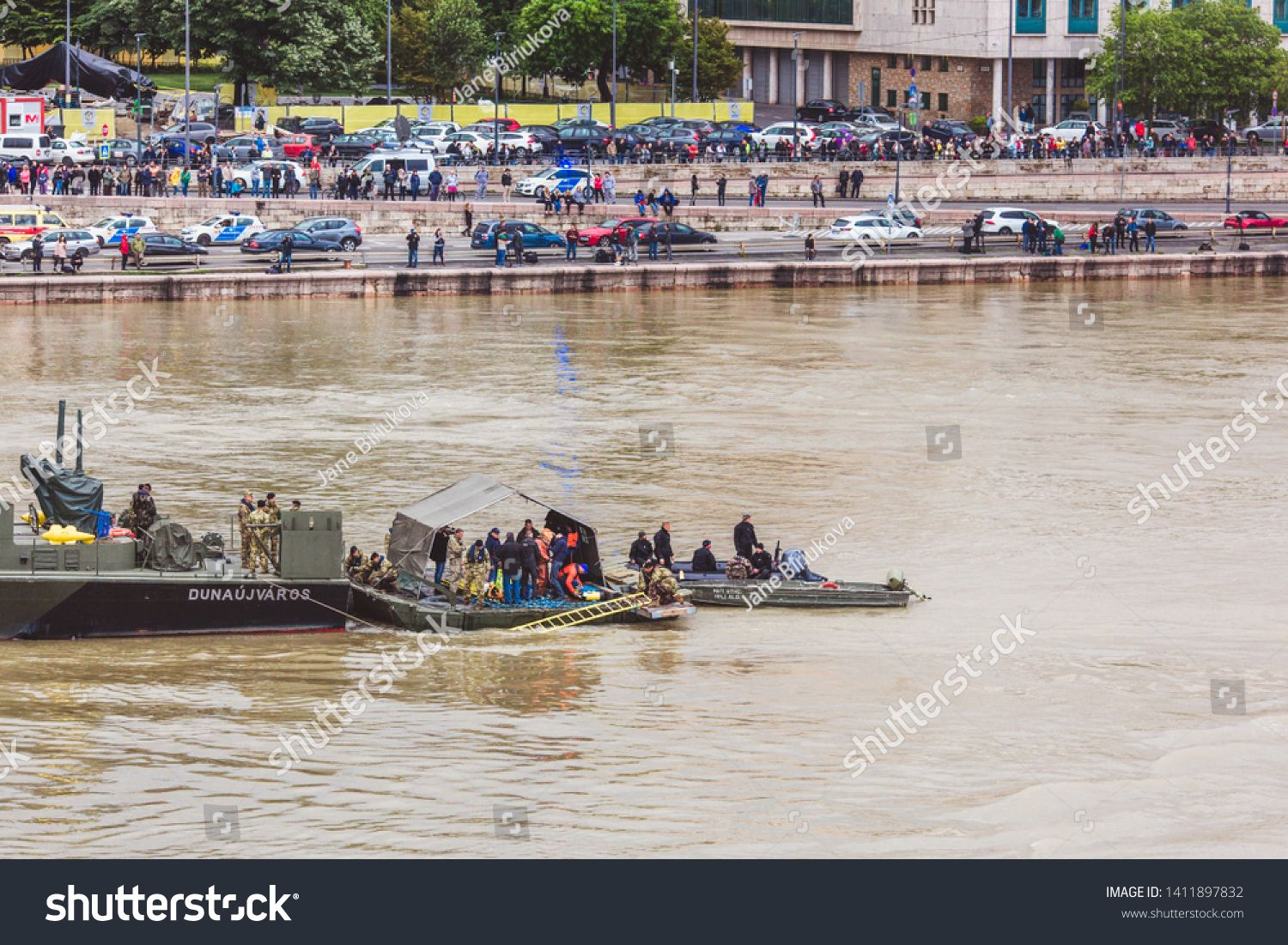 BUDAPEST HUNGARY  MAY 30 2019 Rescue operation on the Danube River near the Margit bridge after the tragedy of May 29 in Budapest Hungary Two ships collided on the river