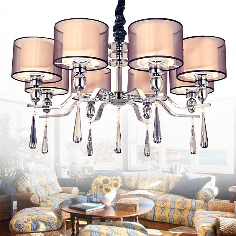 8 Light Fabric Shade Brown Large Modern Chandeliers