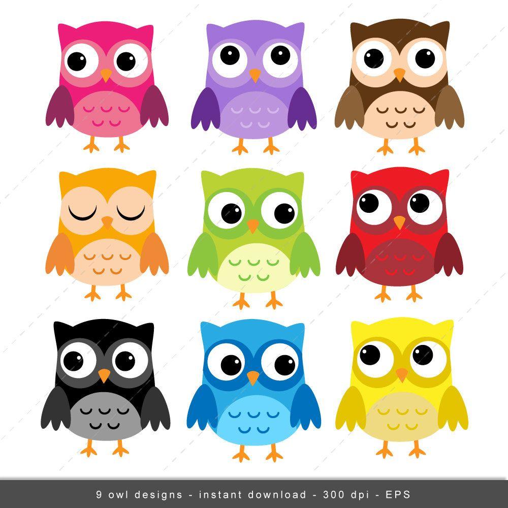 Mini Owl Clipart in 6 Colours