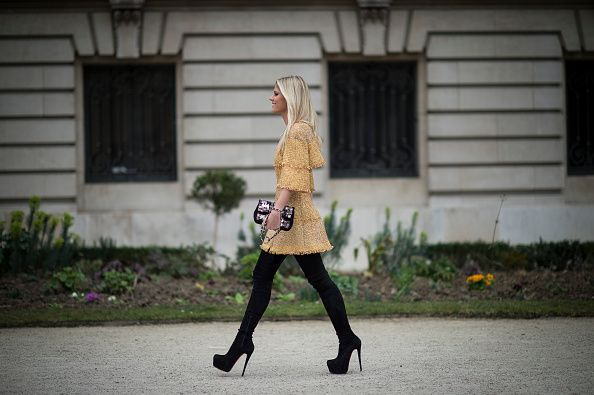 Lala Rudge is wearing Chanel in the streets of Paris during the Paris Fashion…