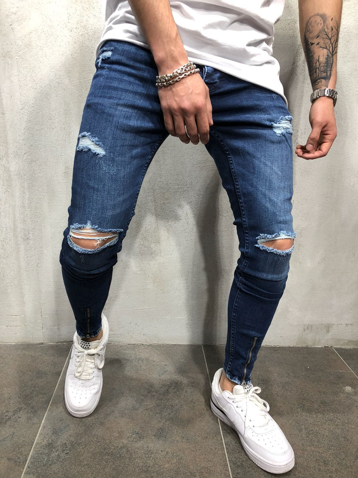 Ankle Zip Skinny Fit Ripped Jeans . Try this ankle zip blue jeans   let the  eyes stop on you! . . . .  skinnyfit  MensWear  denimpants 947449c4f04