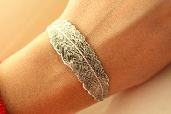 Silver Feather Fly  BRACELET. $30.00, via Etsy.