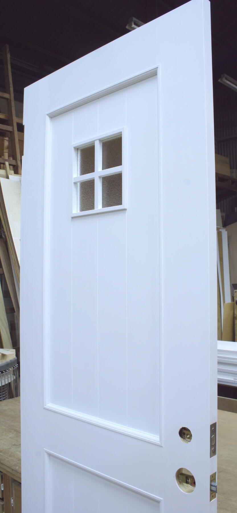 十字格子小窓付きの白いトイレドア 室内ドア製作事例008 ドア 窓