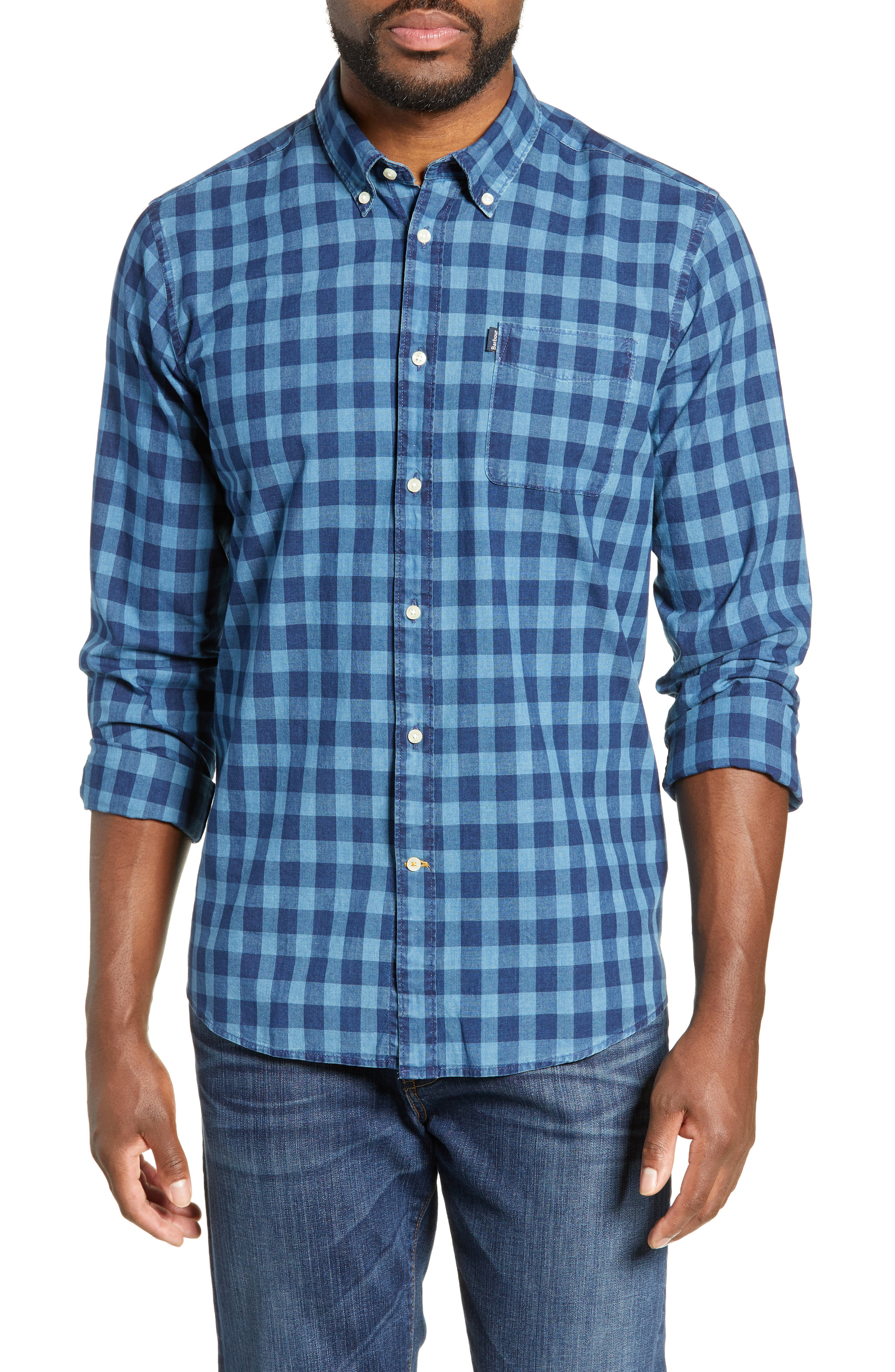 97e628dede8c9 Men's Barbour Indigo Tailored Fit Check Shirt, Size Large - Blue ...
