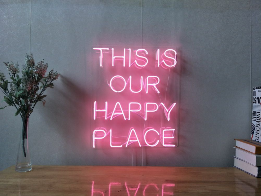 This Is Our Happy Place Custom Dimmable Led Neon Signs For Wall Decor Customization Options Color Size Dimming Neon Sign Bedroom Neon Signs Led Neon Signs