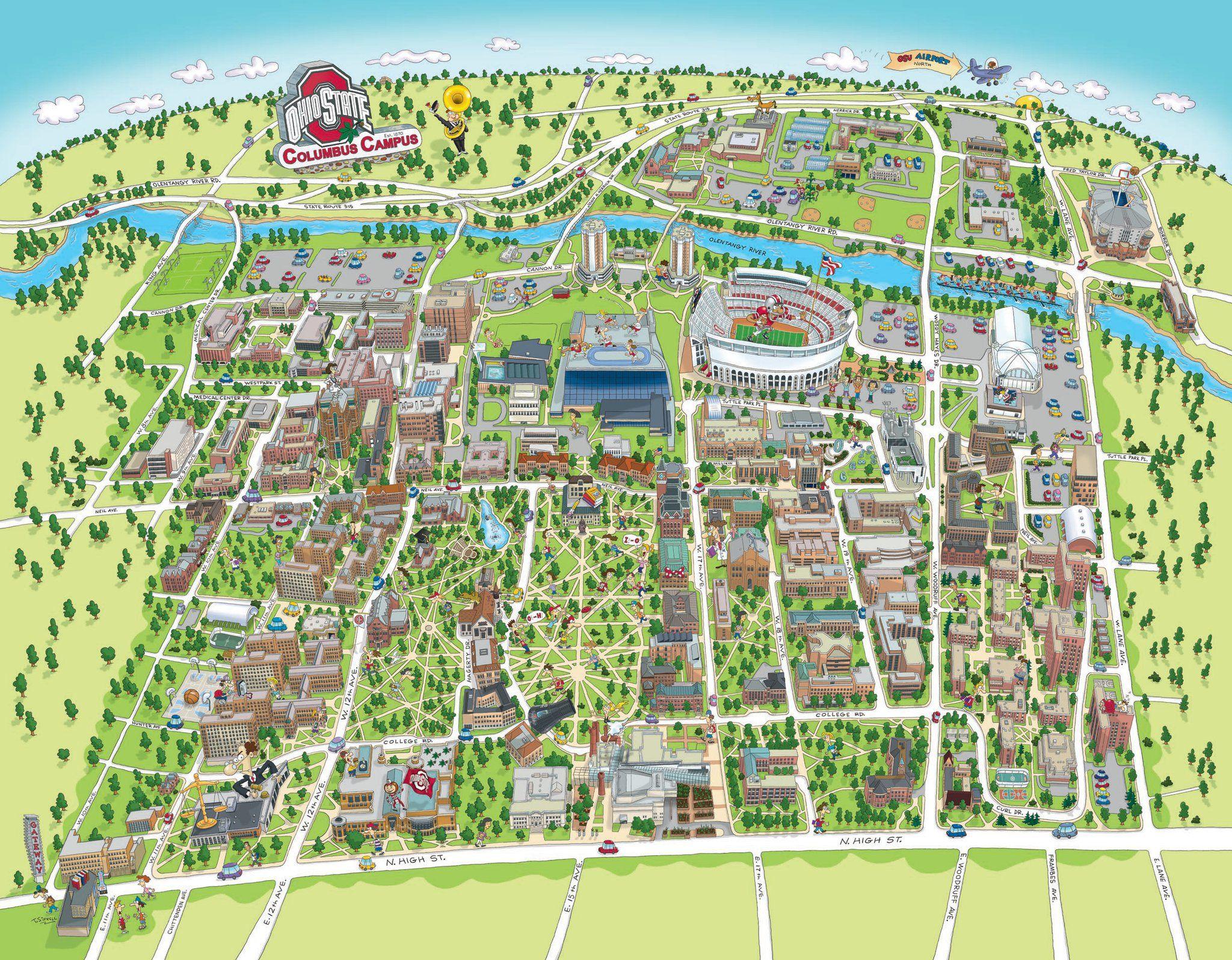 Heres A Cartoon Map I Created For Ohio State University Via - Us map ohio state