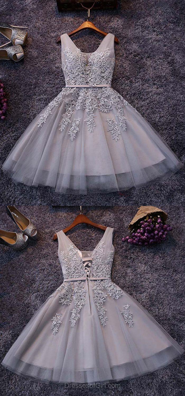 7d62ca33f75 Elegant V-neck Light Gray Short Prom Dress
