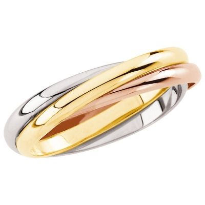 14K Tri-Color Gold Three Band Rolling Ring 4 - Men's Traditional $379.50