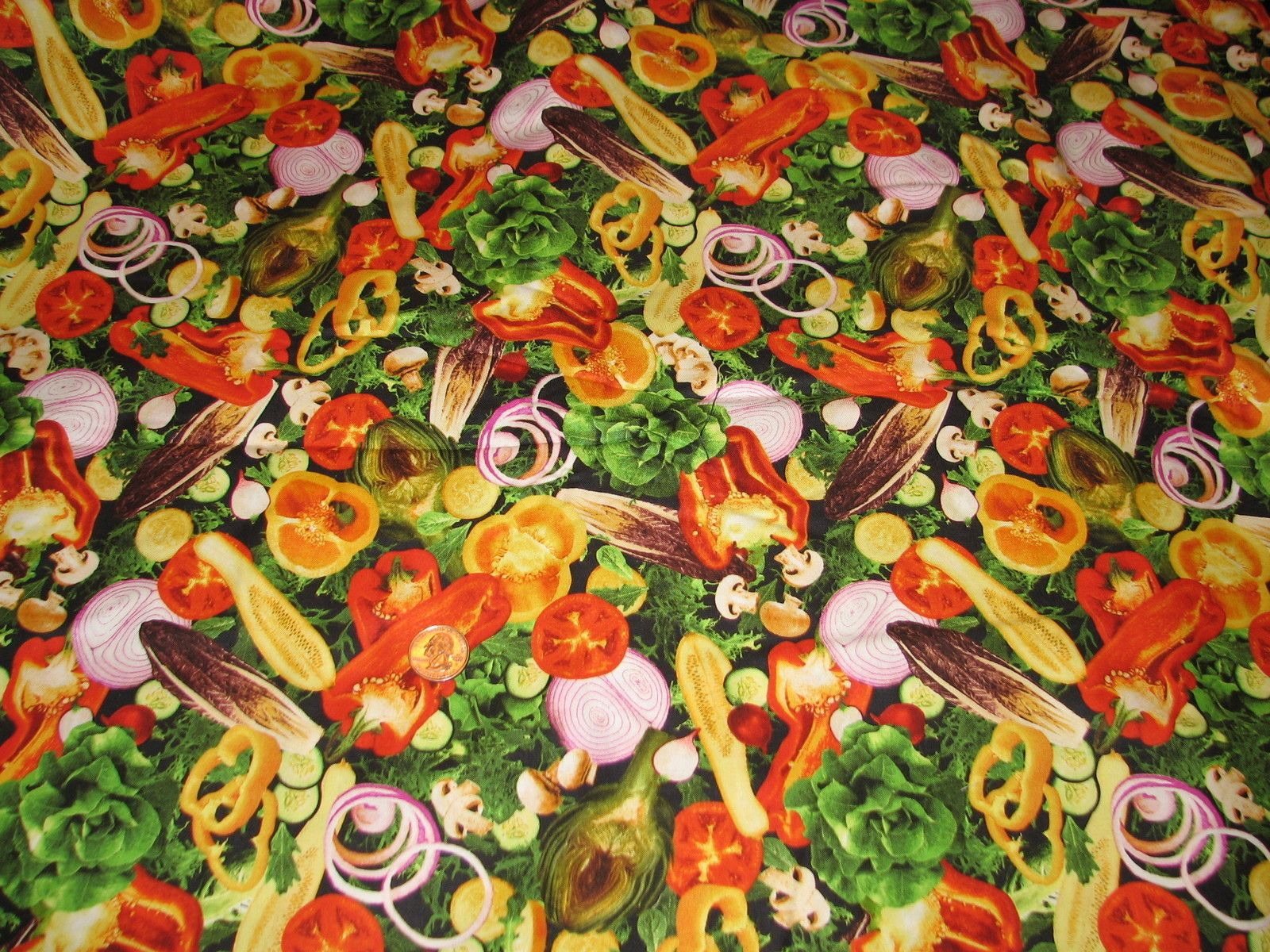Quilt Fabric One Yard Salad Vegetables New Onion Pepper