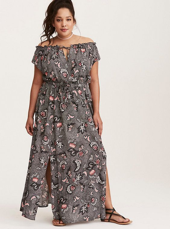 fd7b744d0cd Plus Size Floral Print Off Shoulder Slit Maxi Dress