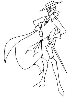 Printabel coloring pages of zorro printables and for Zoro coloring pages