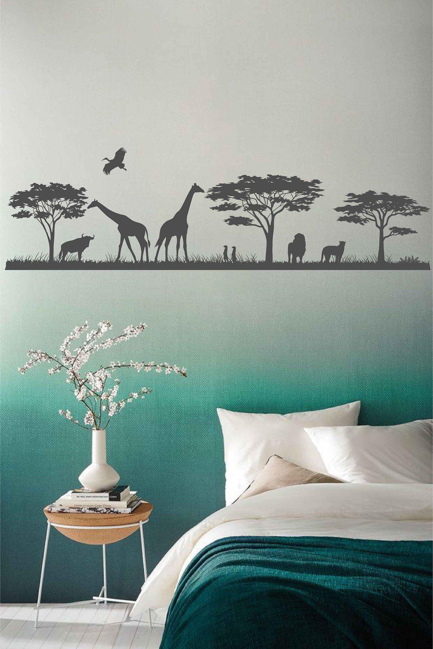 Safari Wild Animals Wall Decal Jungle Wall Decal African Safari Decal Vinyl Sticker Bedroom Nursery Decor Animal Wall Art Nursery Ik3695 Animal Wall Decals Animal Wall Decor Jungle Wall Decals