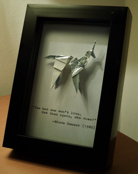 A Handmade Origami Unicorn In The Style Of That Seen Ridley Scotts Blade Runner Mounted 10x15cm 4x6 Box Frame With Quote From Film Hand
