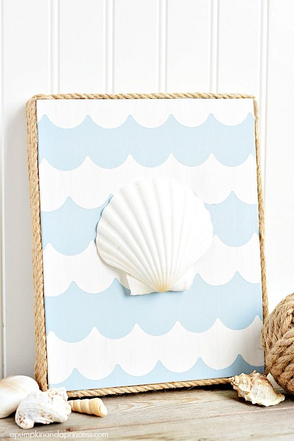 Nautical seashell art made with chalky finish and for Nautical projects