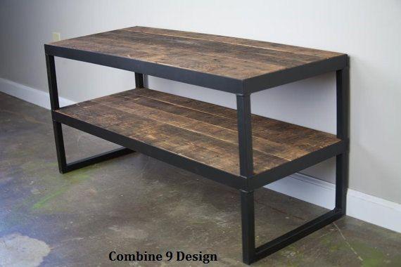 Modern Industrial Tv Stand Reclaimed Wood Steel Vintage Wood