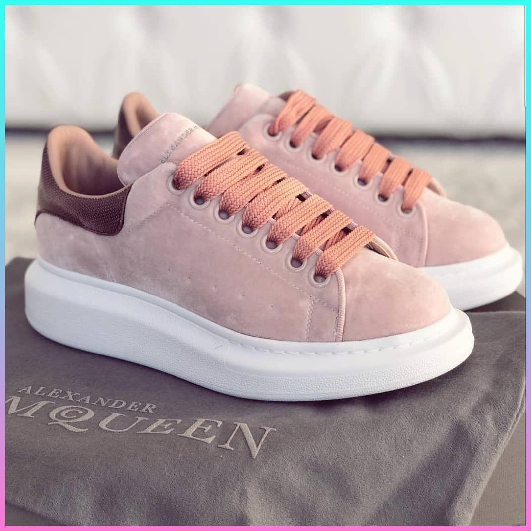 Alexander Mcqueen pink coral velvet   women s sneakers  7328801de0