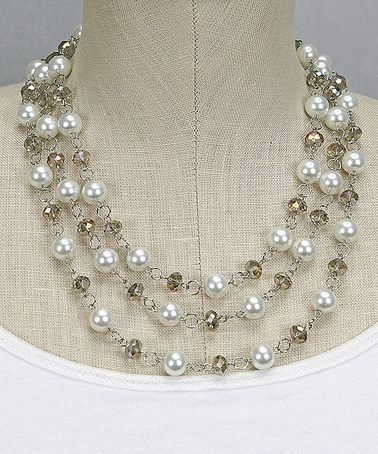 White Crystal Glass Pearl Necklace by Passion for Fashion #zulily #zulilyfinds