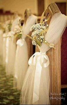 How to decorate church pews with tulle for a wedding junglespirit Images