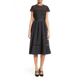 Women's Ted Baker London Frizay Lace Bodice Pleated Midi Dress