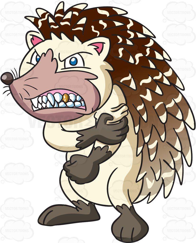 A very mad weird hedgehog #cartoon #clipart #vector #vectortoons #stockimage #stockart #art