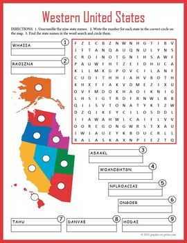 Us Geography Worksheet Western United States Geography