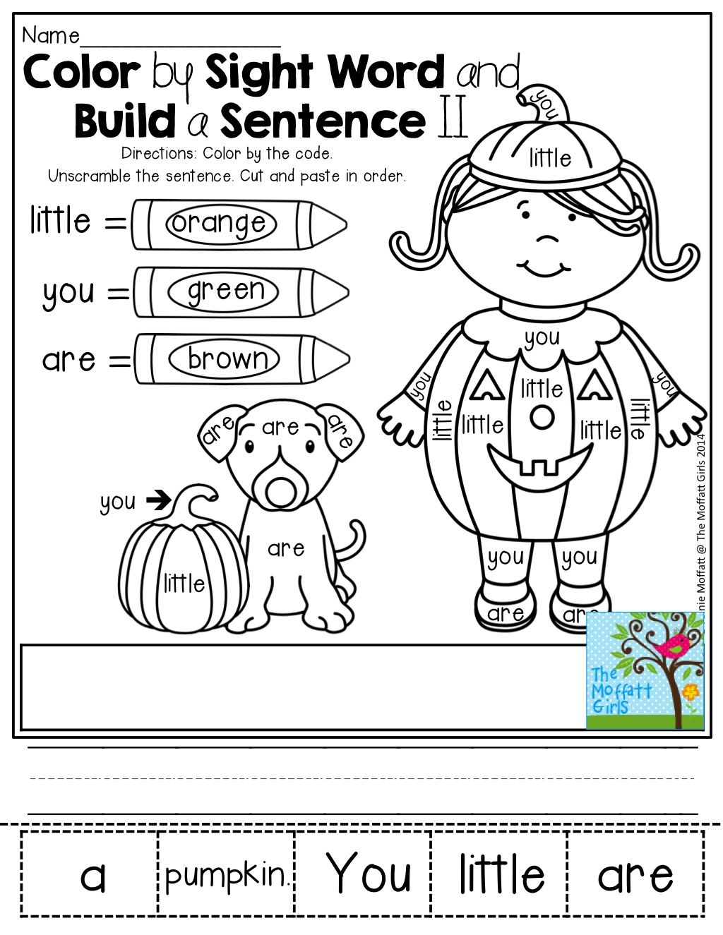 Color by Sight Word and build a sentence! | KinderLand Collaborative ...