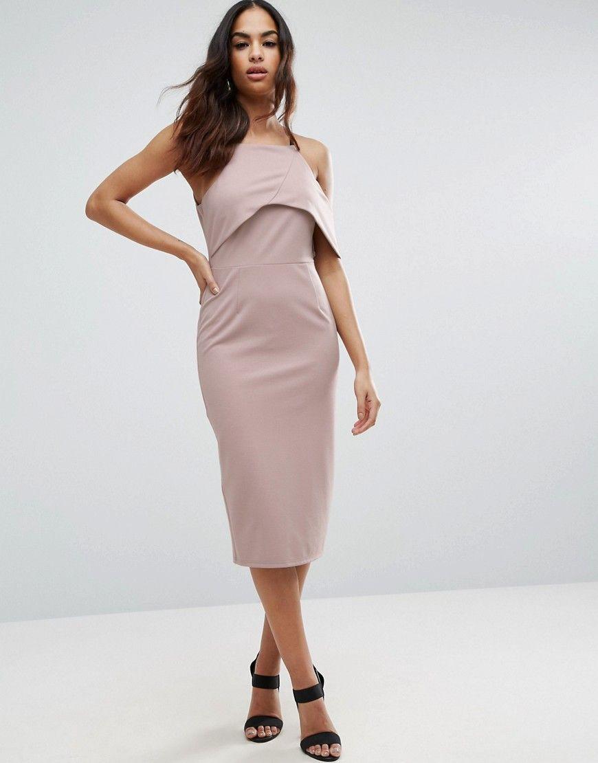 3372e176d2eba One Shoulder Scuba Crepe Bardot Pencil Midi Dress   Products ...