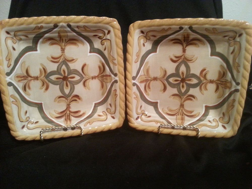 Artimino Tuscan Countryside Sienna Yellow Square Salad Plates ...