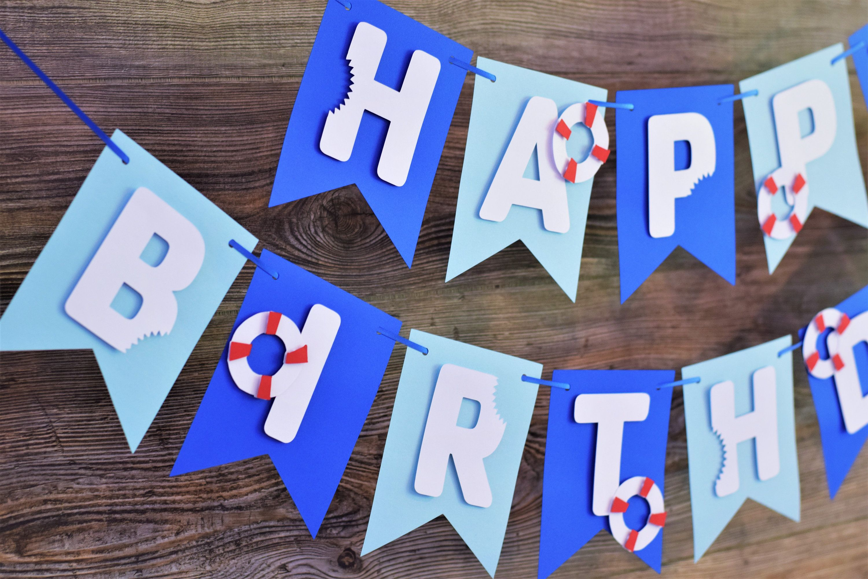 Nautical Shark Bite Banner Aquatic Happy Birthday Party Summer