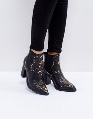 Steve Madden Himmel Leather Studded Heeled Boots at asos.com