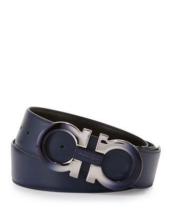 462c24a67 Degrade+Double-Gancini+Reversible+Leather+Belt,+Blue/Black+by+Salvatore+ Ferragamo+at+Bergdorf+Goodman.