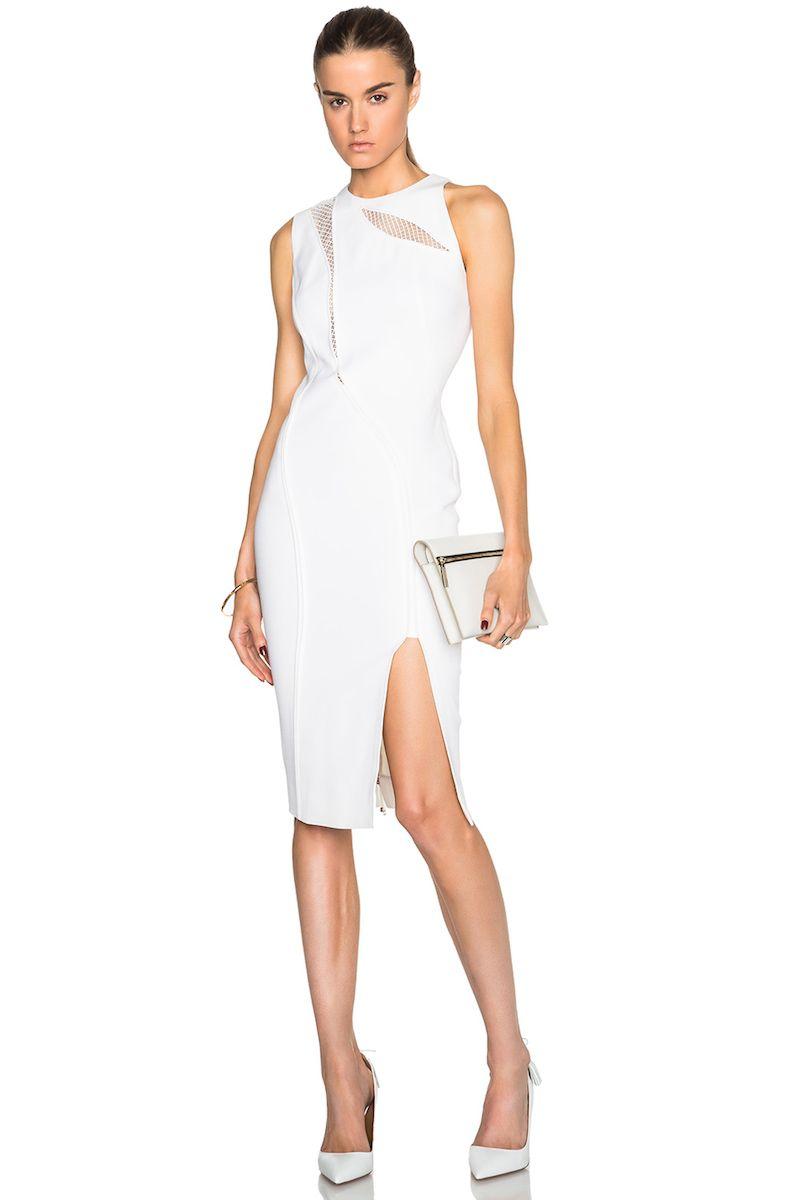 Victoria Beckham Double Crepe Lace Insert Dress