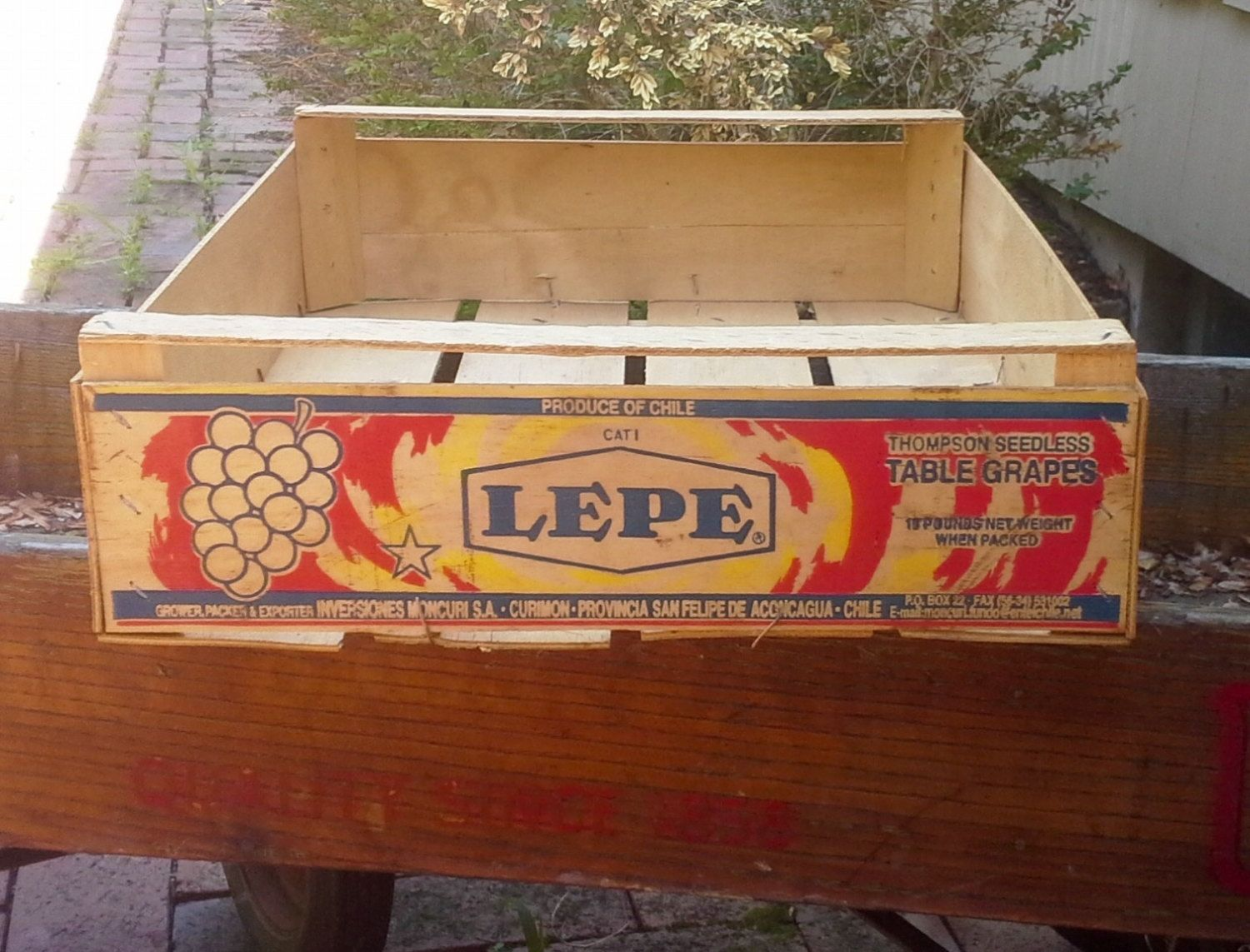 Vintage Lepe Wooden Grape Crate Wood Produce Crate Wooden Crates Food Crate Rustic Wedding Decor Industrial Crate Wood Wooden Crates Crates Wooden Crate