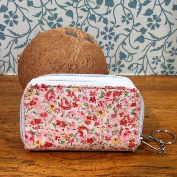 """Pink Flower Coin Purse Key Chain Double pocket coin purse with two zippers and keychain. Brand new. 3"""" Wide by 4 1/2"""" Long. Super Star Accessories"""