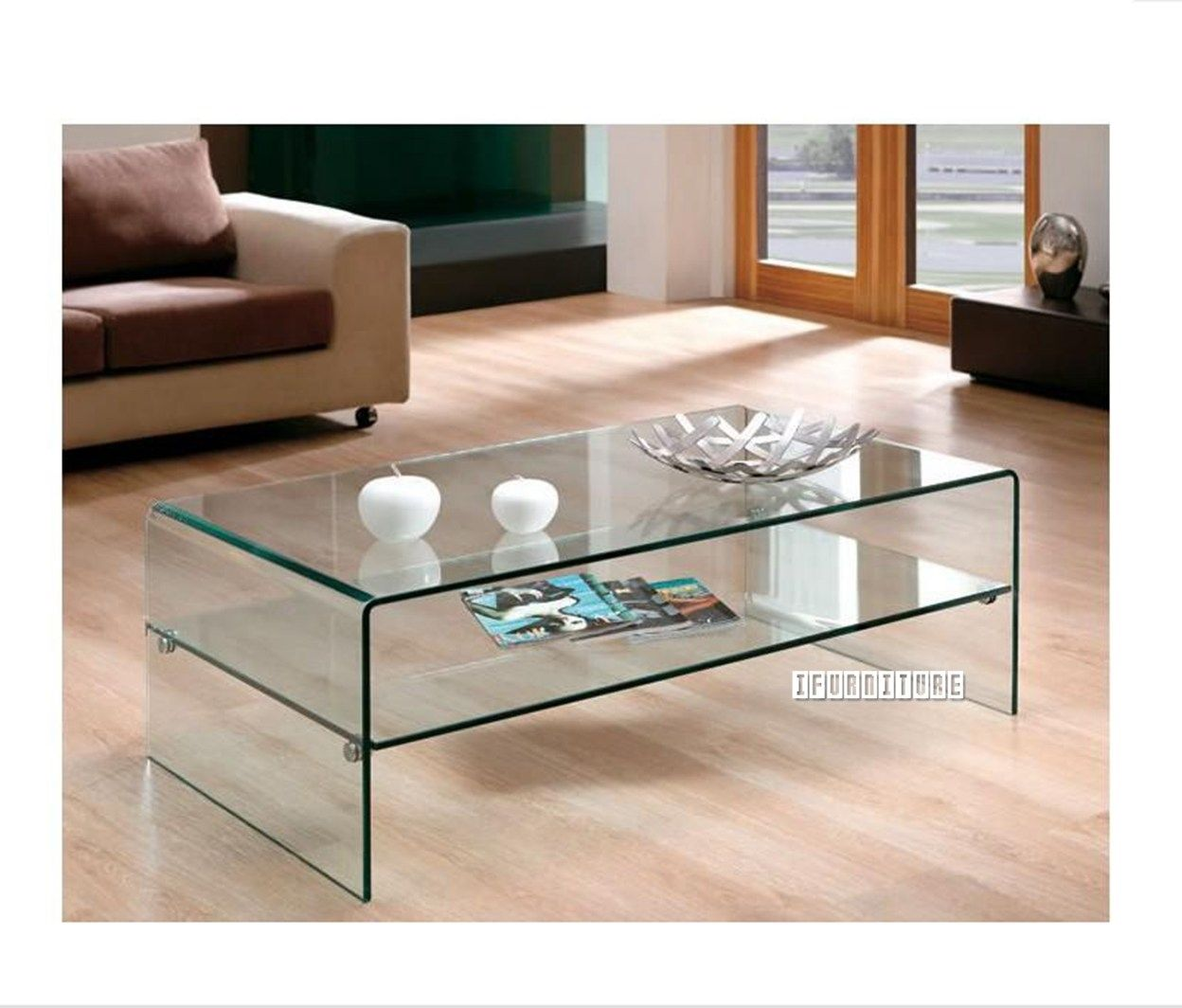 MURANO Bent Glass Coffee Table With Shelf