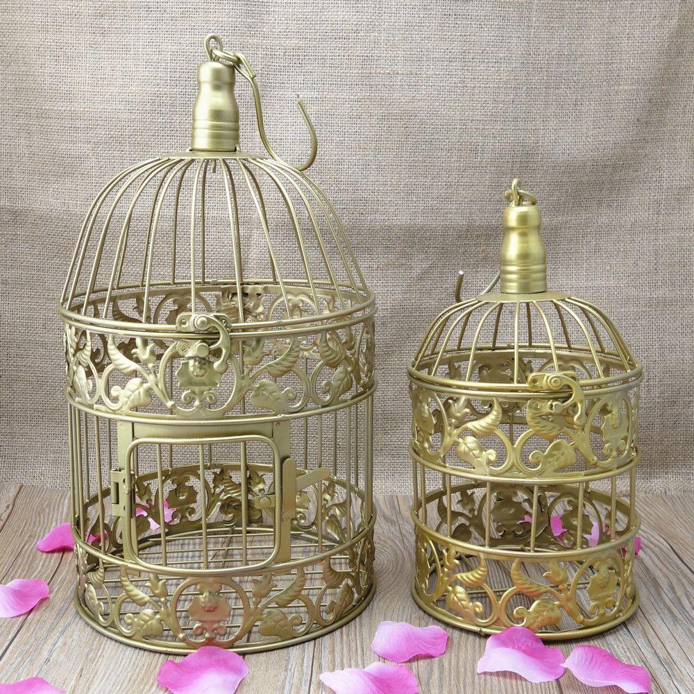 Handmade 1 Set Fastion Iron Birdcage Gold Metal Decorative Bird Cagebirdscase For
