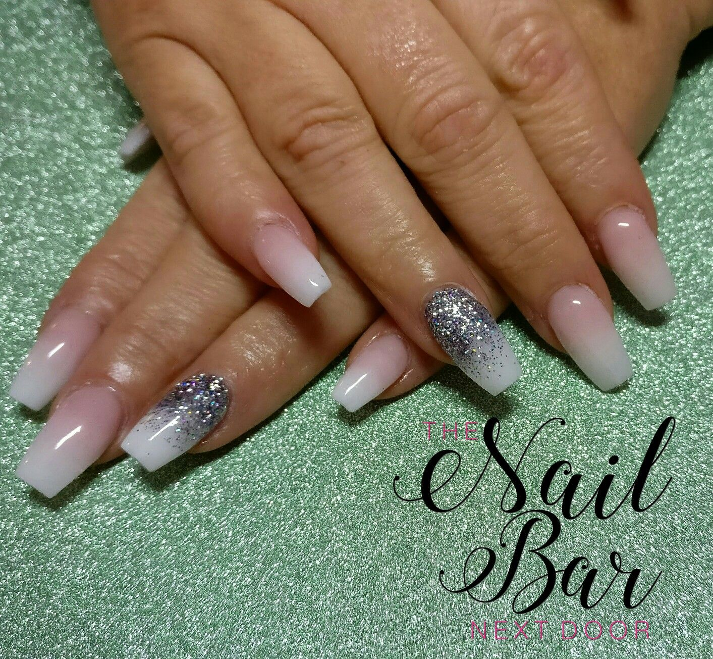 Another beautiful set of baby boomer acrylic nails. Coffin ombre ...