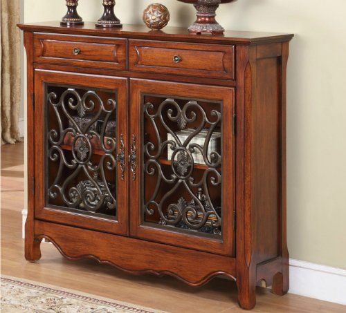 Amazon.com   Old World Tuscan Style Decor Furniture Wood U0026 Scroll Cabinet  Sideboard Buffet Entry Hall Foyer Table   Free Standing Cabinets
