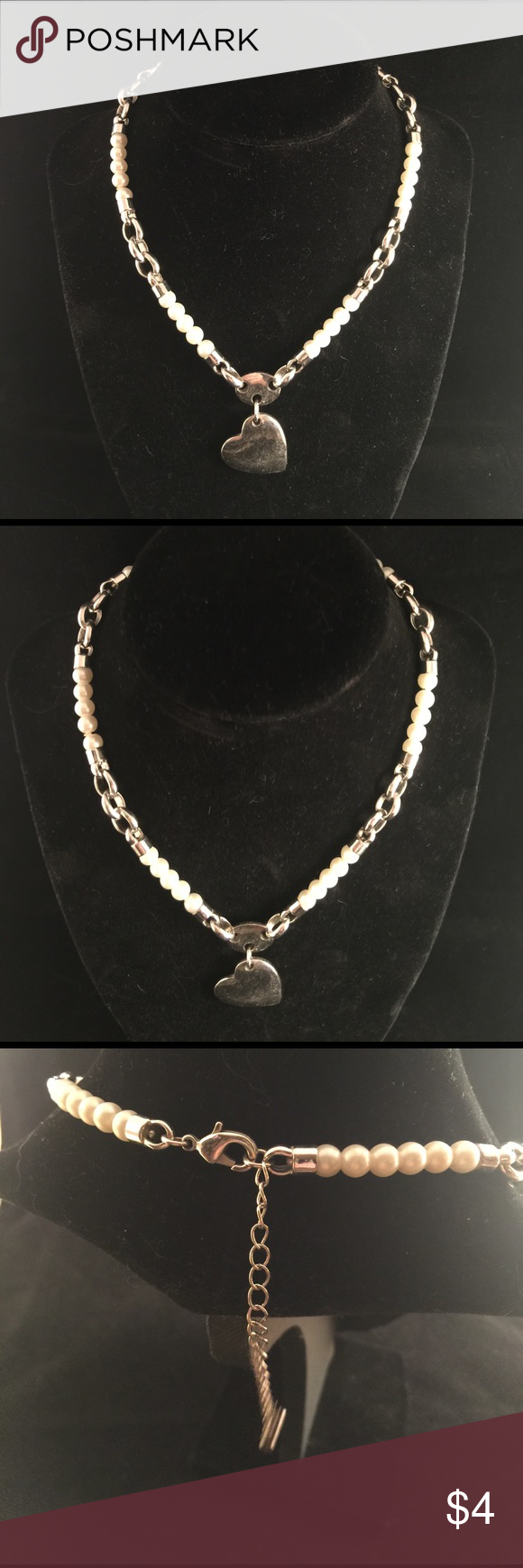 #6oz Silver Heart & White Bead Necklace #c Heart has notable wear Jewelry Necklaces