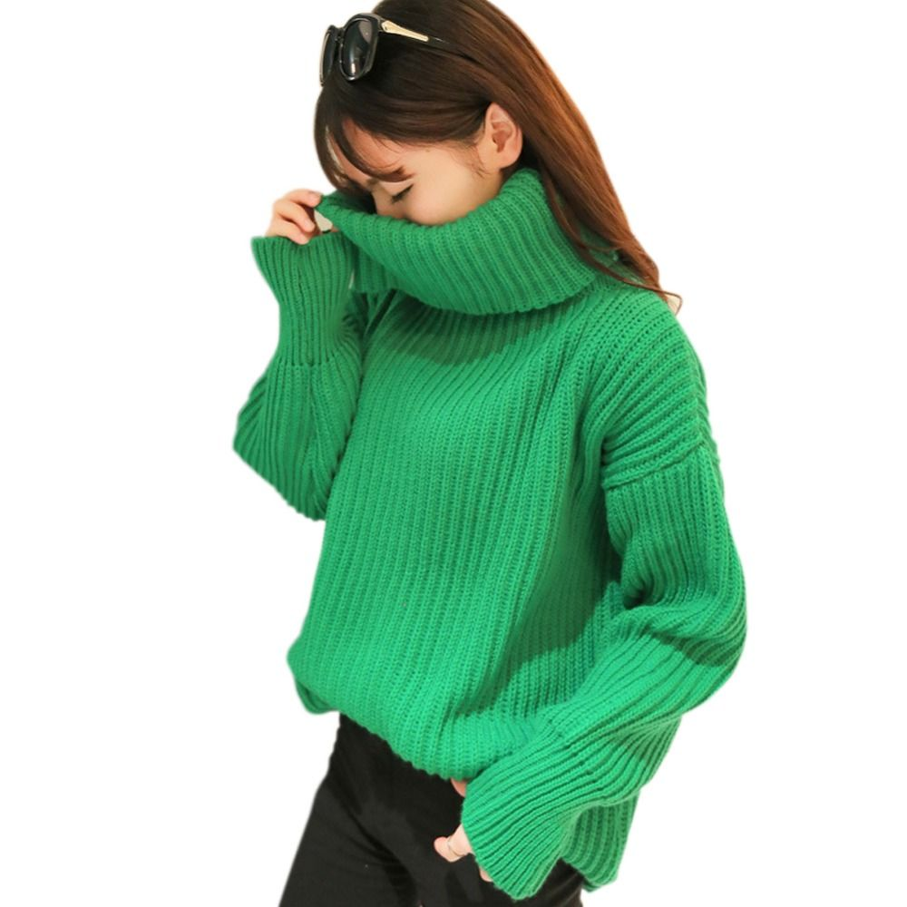 2015 Autumn and Winter Sweaters Women Loose High Neck Sweater ...
