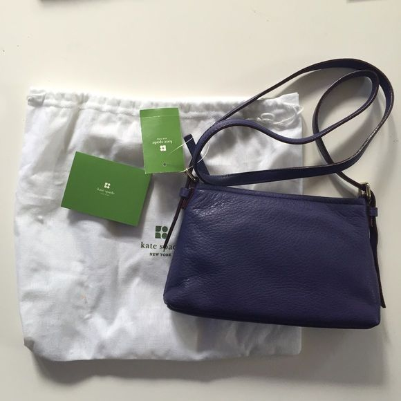 New with tags purple Kate spade purse Brand new with tags & bag purple leather Kate Spade purse. Mini Brennan bag is 9 in wide and just under 6 in tall. Two small inside pockets, one zips. Strap can be adjusted but is long enough to wear across your body. Kate spade white bag & green info tag included. Reasonable offers considered.   #katespade #purple #purpleleather #greatdeal #katespade #nwt #newwithtags #newkatespade kate spade Bags