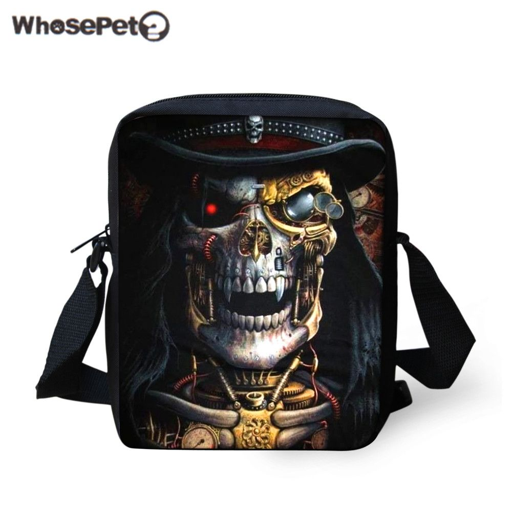 WHOSEPET Stylish Skull Sling Bags for Boys Fashion Men Leisure ...