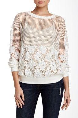 Applique Open Crochet Sweatshirt