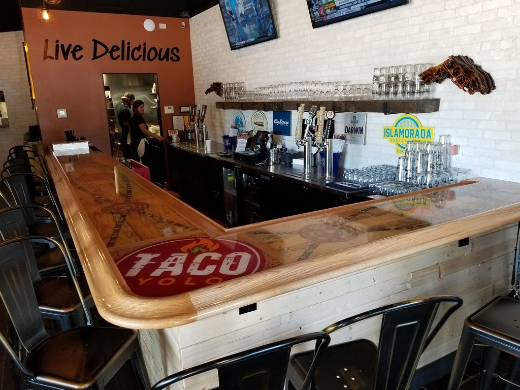 Large L Shaped Commercial Bar Top Featuring Our Chicago Style Bar Rail  Moldings And Matching Radius