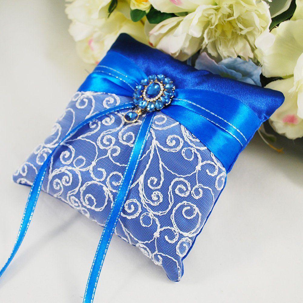 Wedding ring bearer royal blue, Lace cushion for wedding