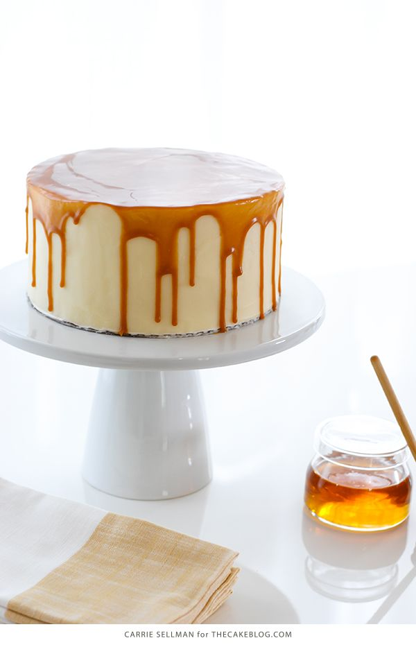 Honey Butter Cake. A honey infused cake is topped with honey cream cheese frosting and drizzled with a dramatic honey butterscotch glaze.